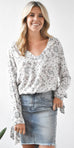 Gentle Fawn Lena Long Sleeve Blouse in Bandana White