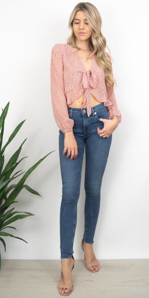 Sage the Label Fiona Tie Top in Dusty Rose