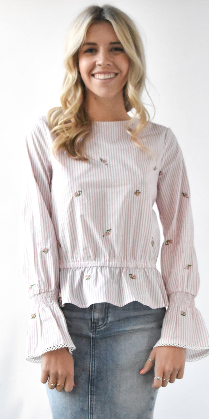 J.O.A. Embroidered Ruffle Hem Top in Pink and Ivory Stripe