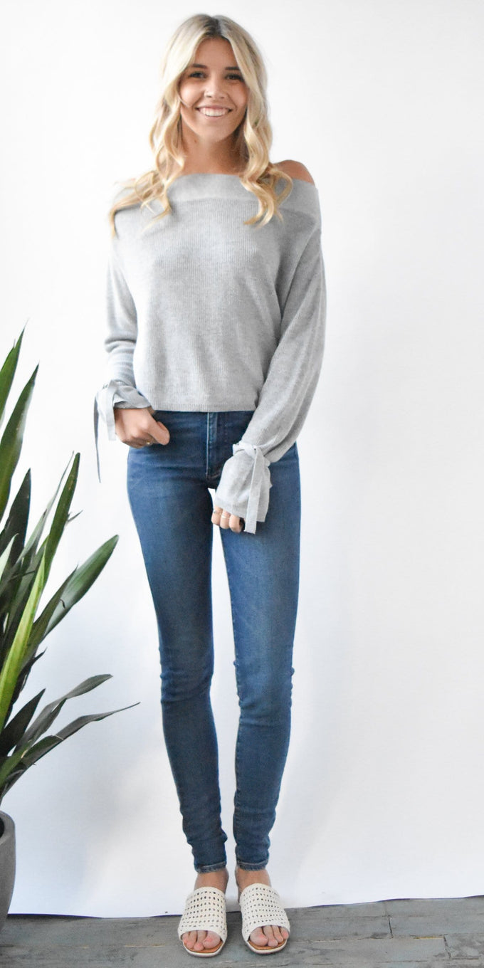 Gentle Fawn Rita Tie Sleeve Sweater in Light Grey Mix