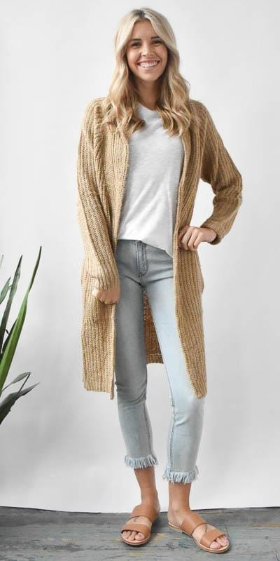Wild Dove Boutique Chunky Knit Open Cardigan in Camel