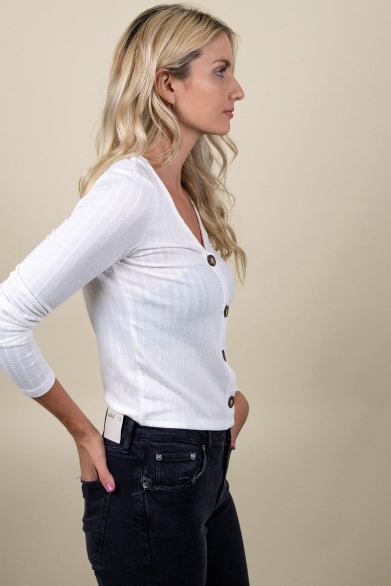Trendy Ribbed Button Long Sleeve