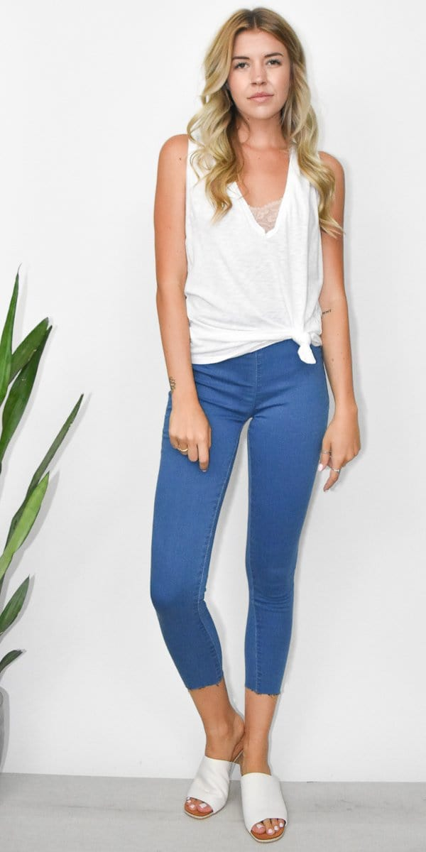 Free People Easy Goes It Leggings in Light Denim