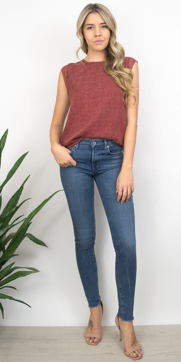 Gentle Fawn Geneva Top in Barn Red Microdot