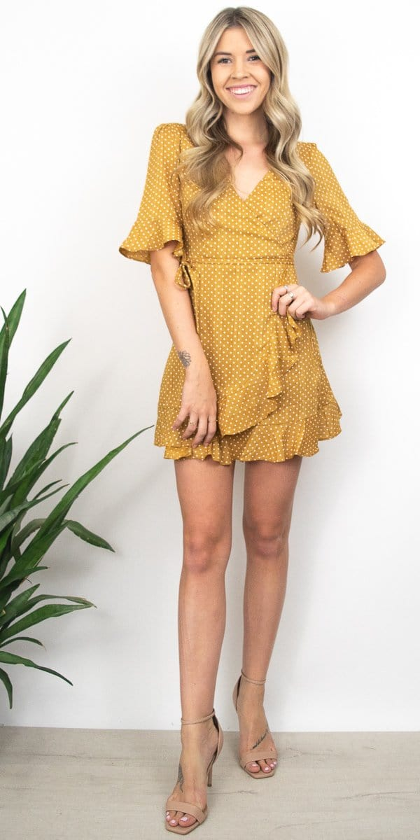 Sage the Label Tova Wrap Dress in Honey Mustard