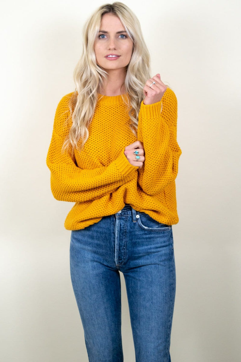 Amuse Society Amalia LS Knit Sweater Gold