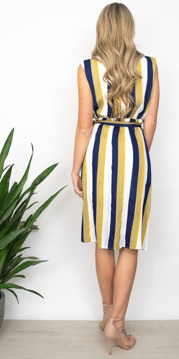 MINKPINK Faux Wrap Midi Dress in Mutli Stripe