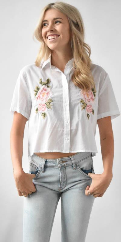 Wild Dove Boutique Floral Embroidery Shirt