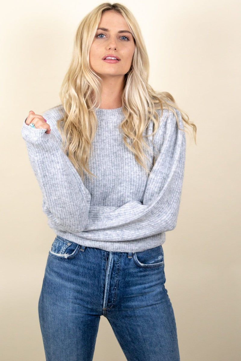 Amuse Society Florence Knit Sweater grey heather