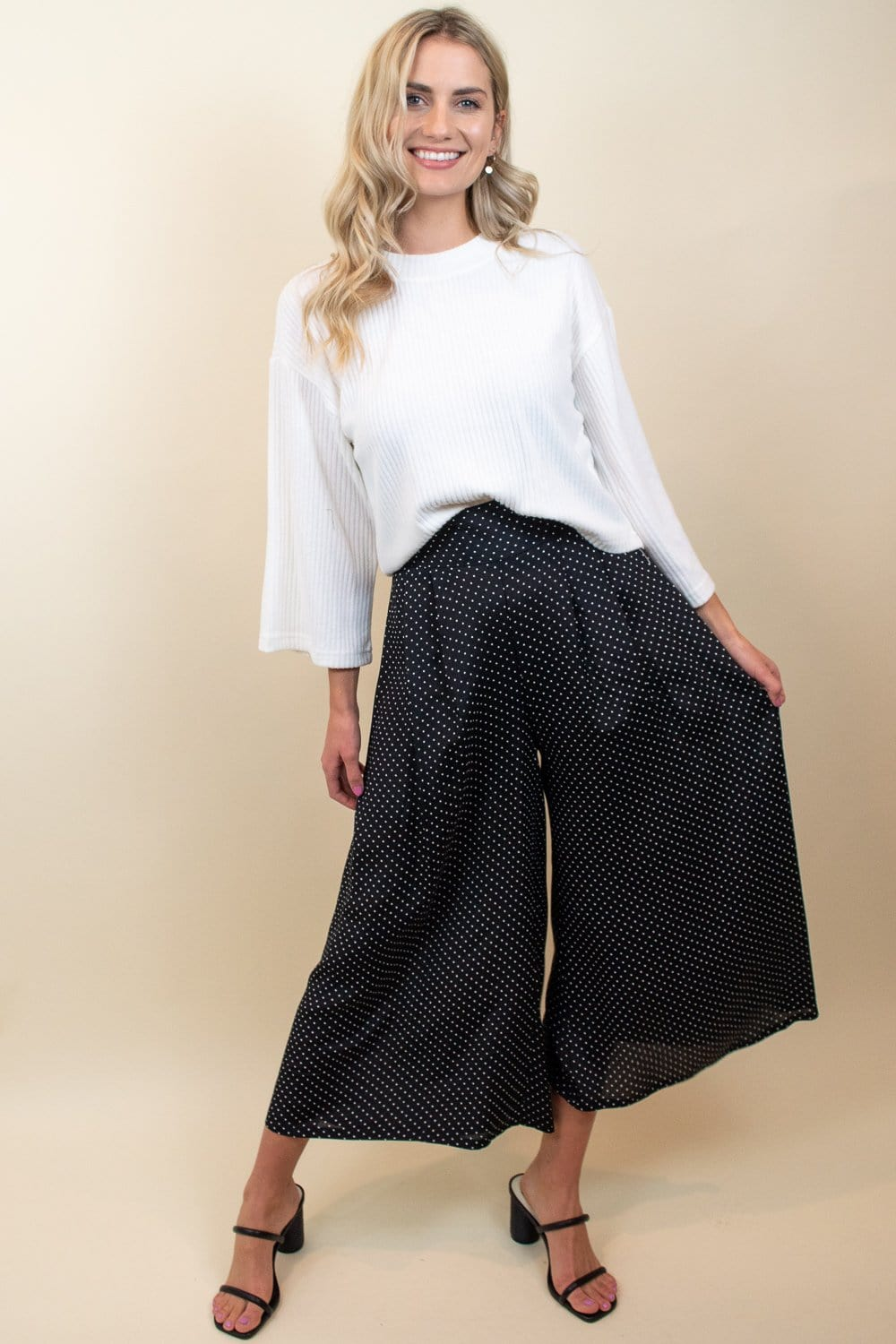 Perfect Palazzo Pant Black Polka Dot