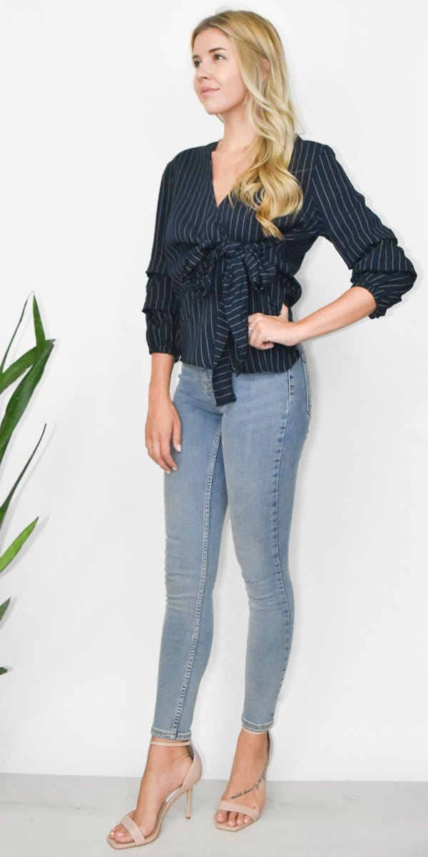 MINKPINK Pin Stripe Puff Sleeve Top in Navy/ White