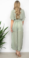 Moon River Tie Front Stripe Jumpsuit