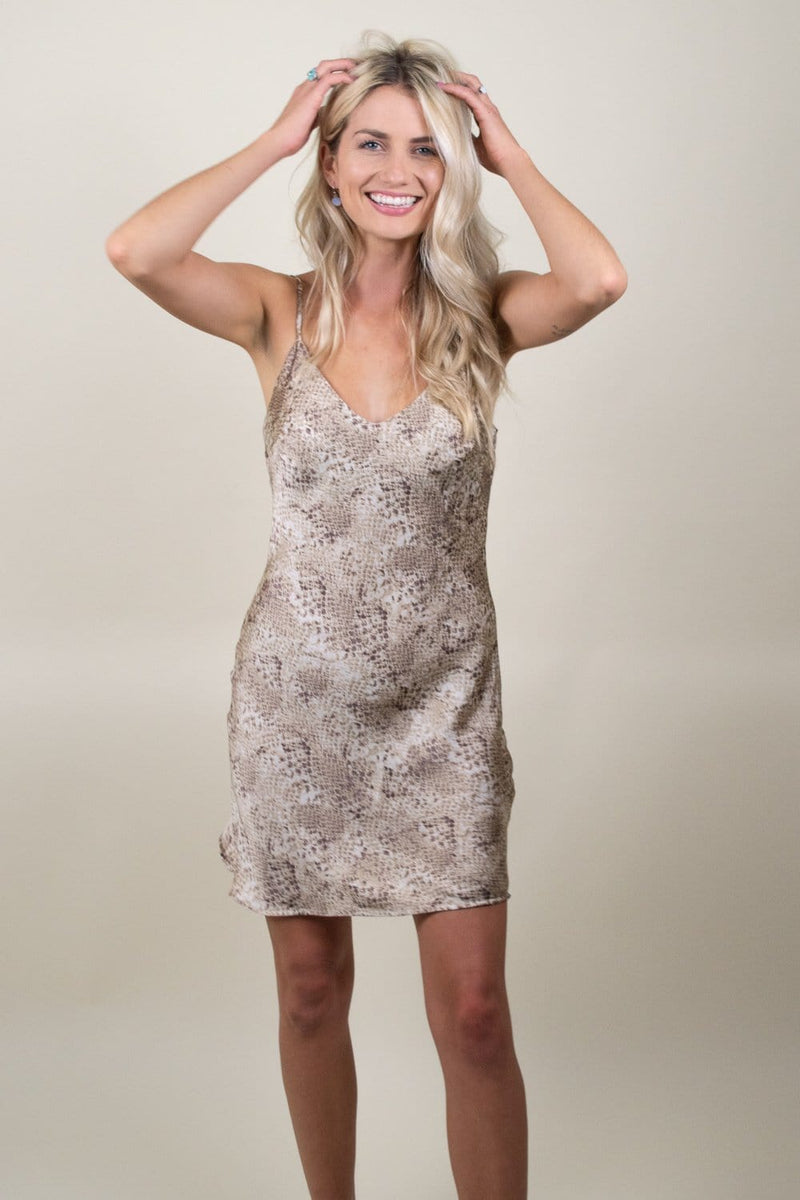 Natural Snakeskin Mini Dress