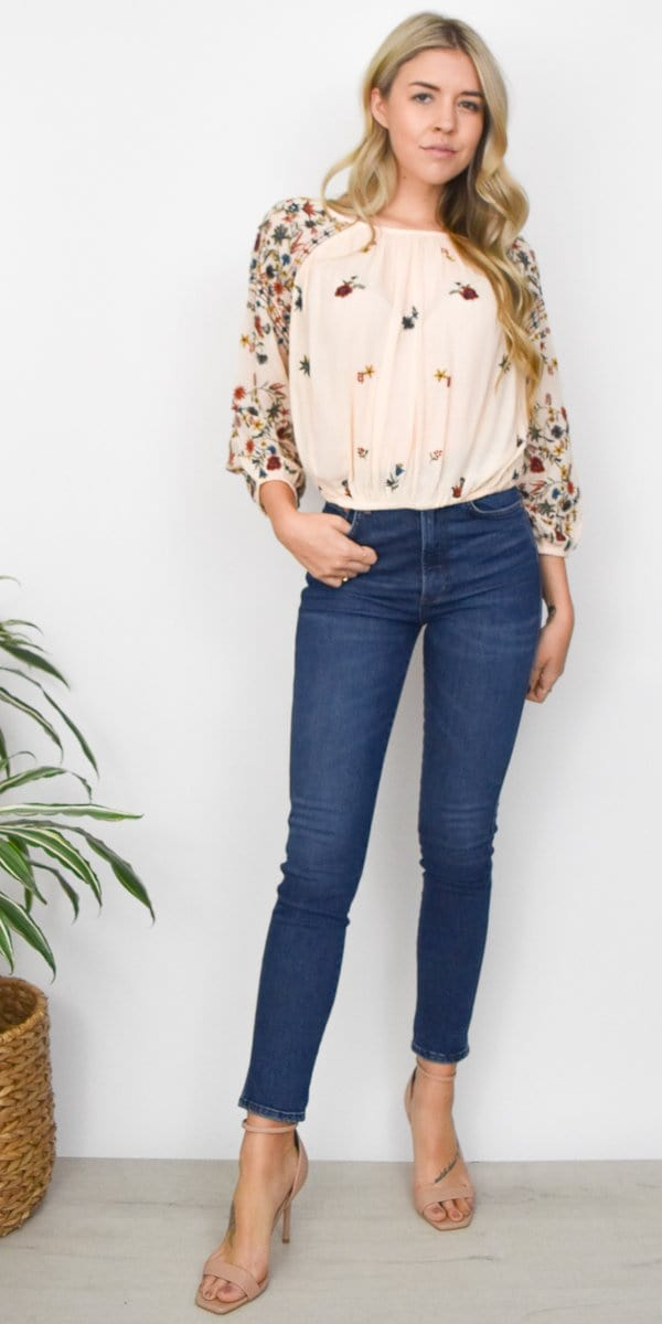 Free People Wild Flowers Blouse in Neutral