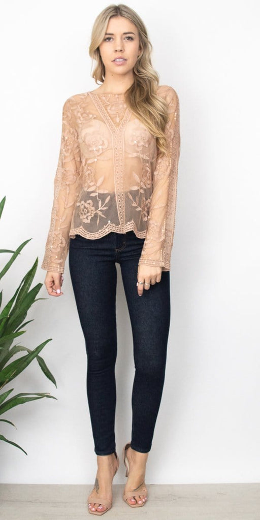 Honey Punch Lace Keyhole Top in Blush Nude