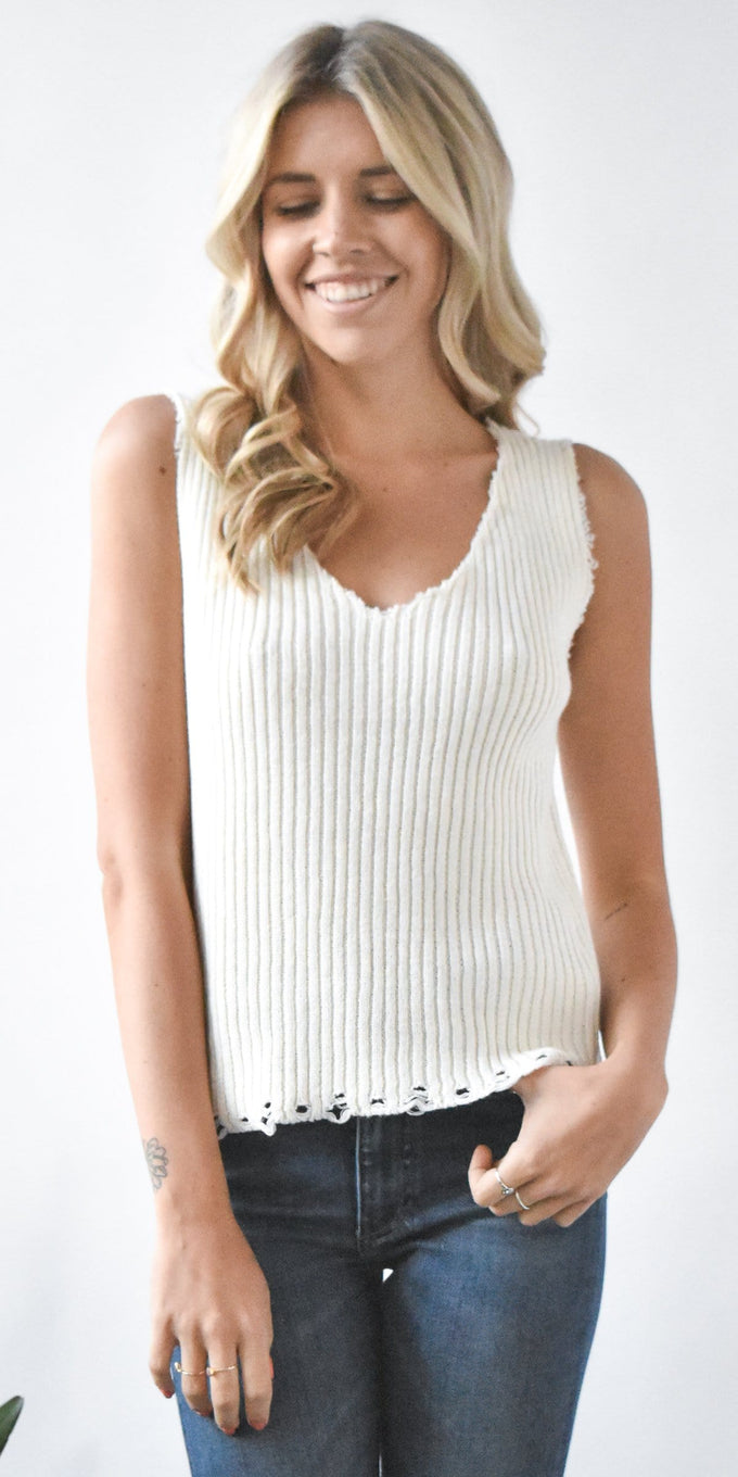 Moon River Knit Sleeveless Sweater Top in Ivory Knit