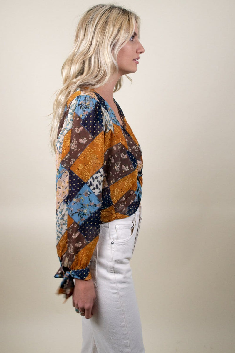 Moon River Twist Front V-Neck Wrap Top