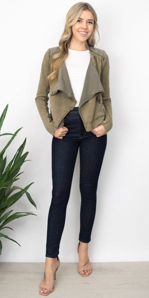 Free People Shrunken Moto Cardi in Moss Green.
