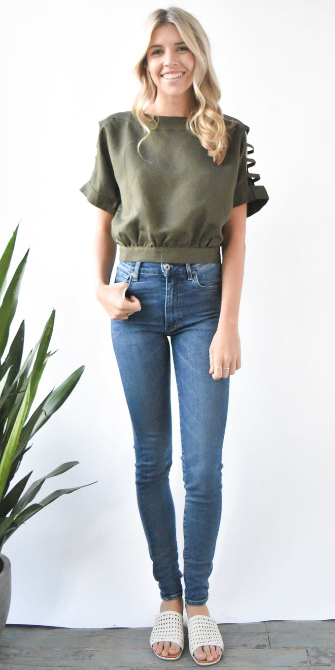 J.O.A. Cut Out Sleeve Top in Olive