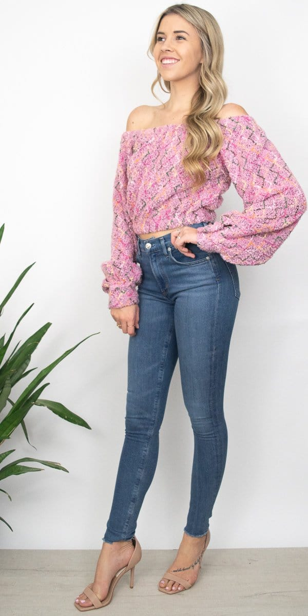 J.O.A. Boucle OTS Top in Pink