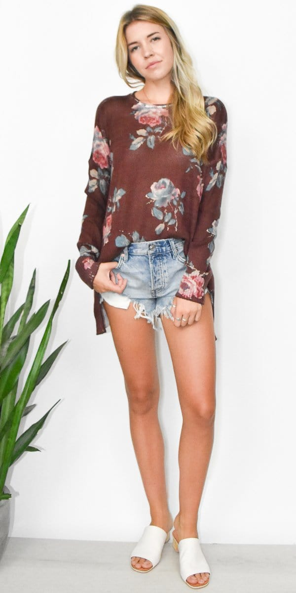 Show Me Your Mumu Bonfire Sweater in Chocolate and Roses Knit