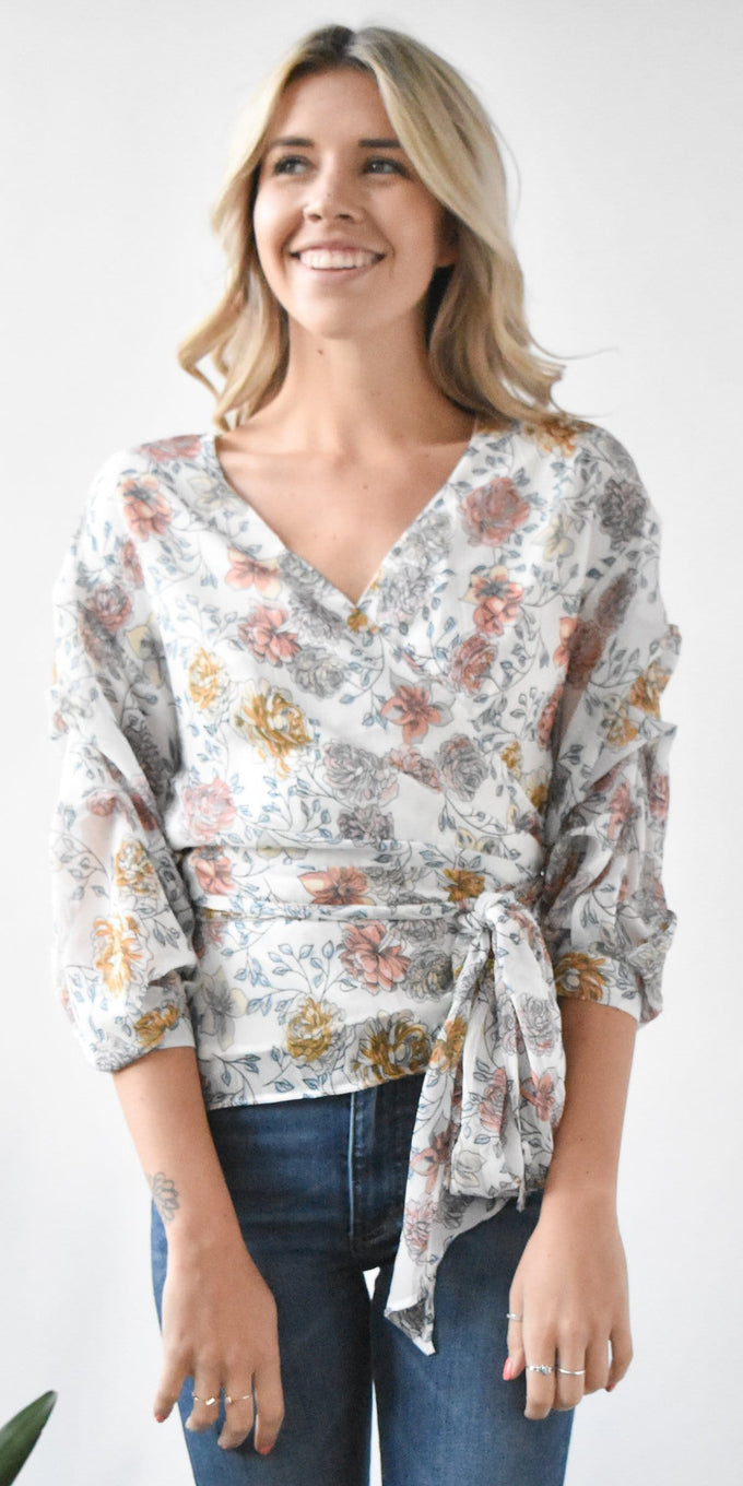 J.O.A. Wrap Top w Tiered Sleeve in Ivory Floral