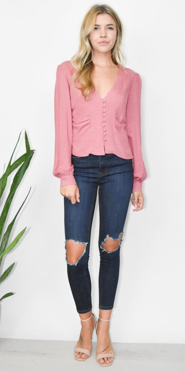 Free People Maise Top in Rose Pink