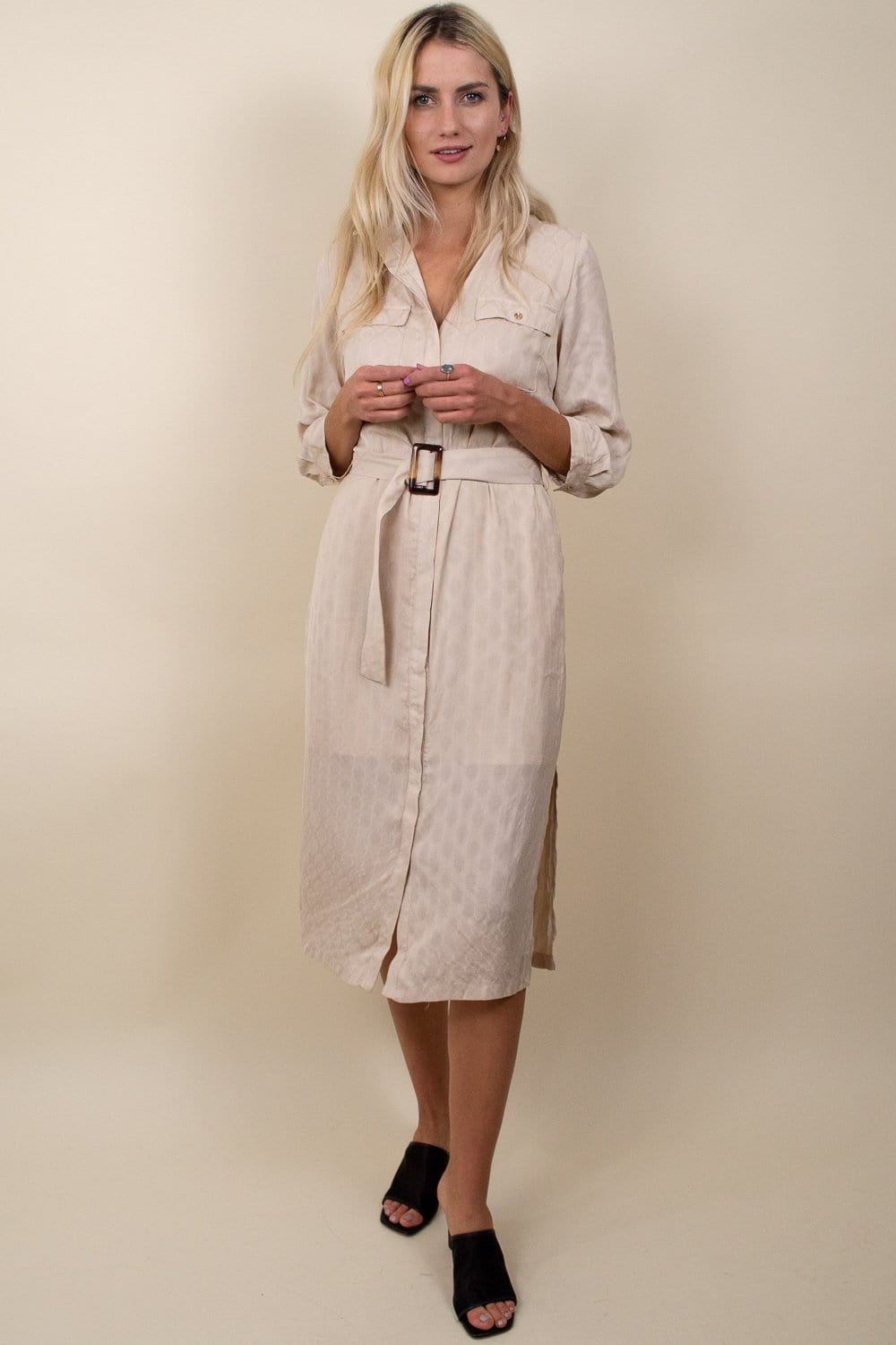 Lucy Paris Mabel Button Down Collar Dress Beige