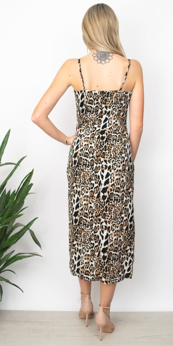 Honey Punch Leopard Print Midi Dress