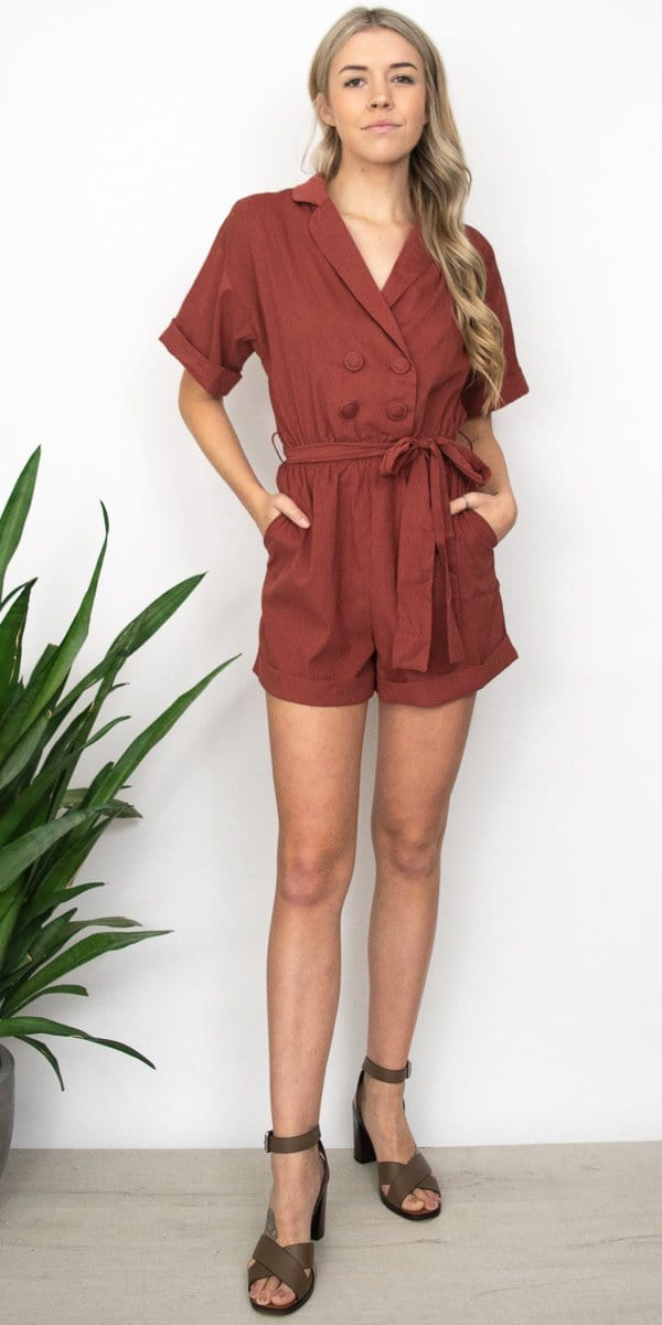 Moon River Notched Collar Romper in Sienna