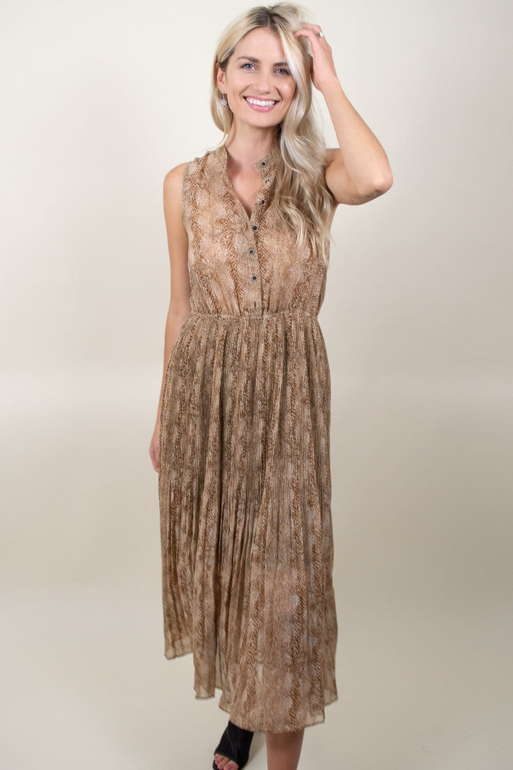 Moon River Snakeprint Pleated Button Front Dress