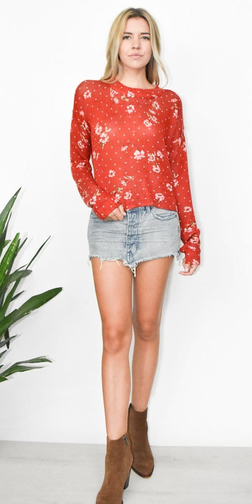 Show Me Your Mumu Cropped Varsity Sweater in Dotcha Love Me Knit