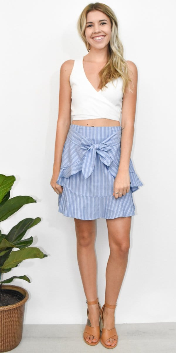 The Fifth Label Barbados Stripe Skirt in Blue/White