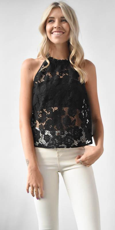 Free People Sweet Meadow Dream Lace Top in Black Lace