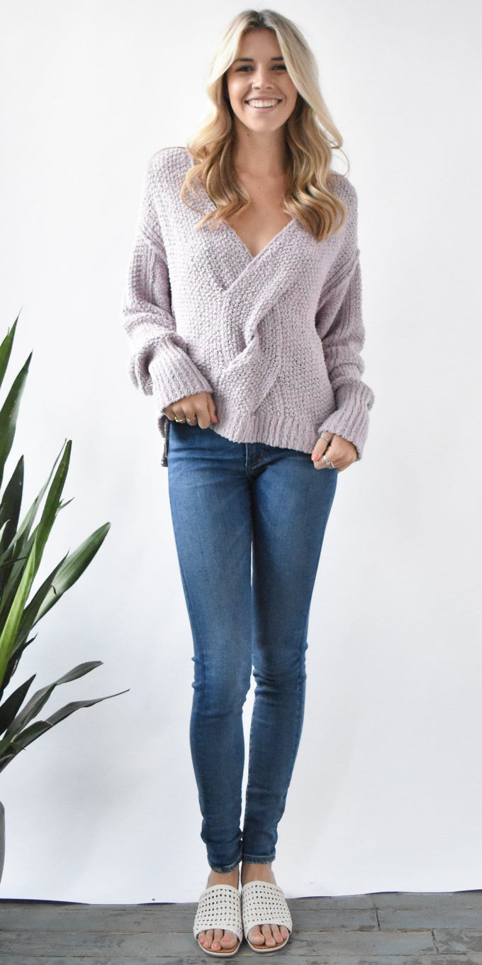 Free People Coco Sweater in Pale Lavender