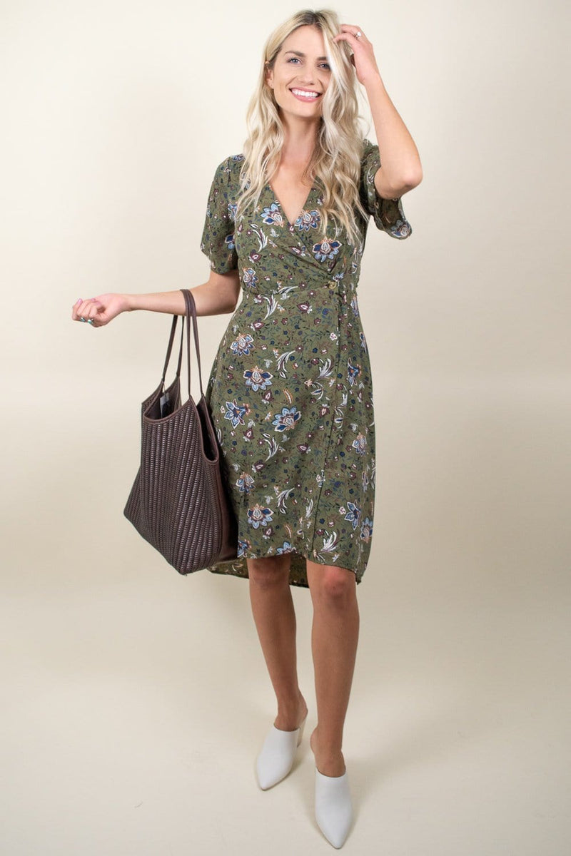 Moon River Tie Waist Midi Dress