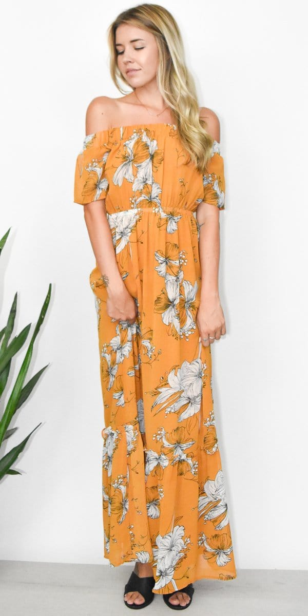 Lucca Camilla OTS Maxi Dress in Sunset Hibiscus