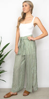 Moon River Waist Tie Wide Leg Pant in Olive Stripe
