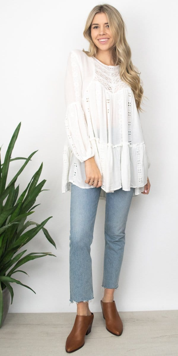 Free People Kiss Kiss Tunic in Ivory