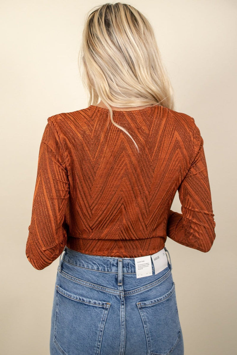MINKPINK Wrap Front Bodysuit Burnt Orange