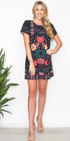 MINKPINK Wisdom Tee Dress in Black Multi Print