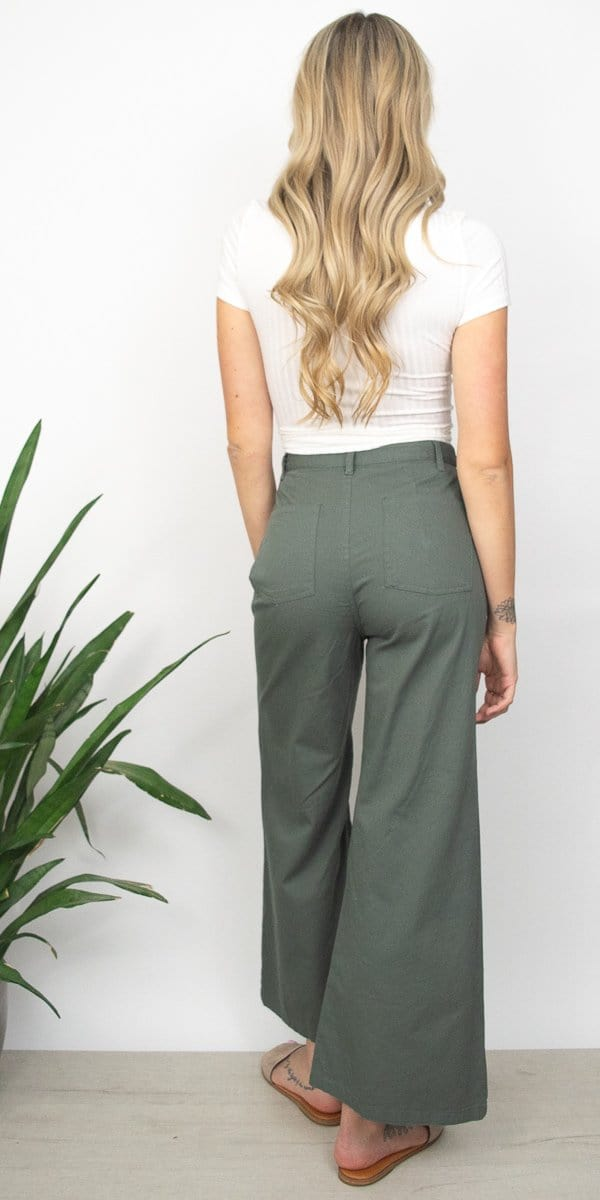 Amuse Society Dominga Pant in Moss Green