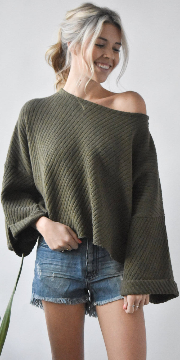 Free People I Can't Wait Cropped Sweater in Olive