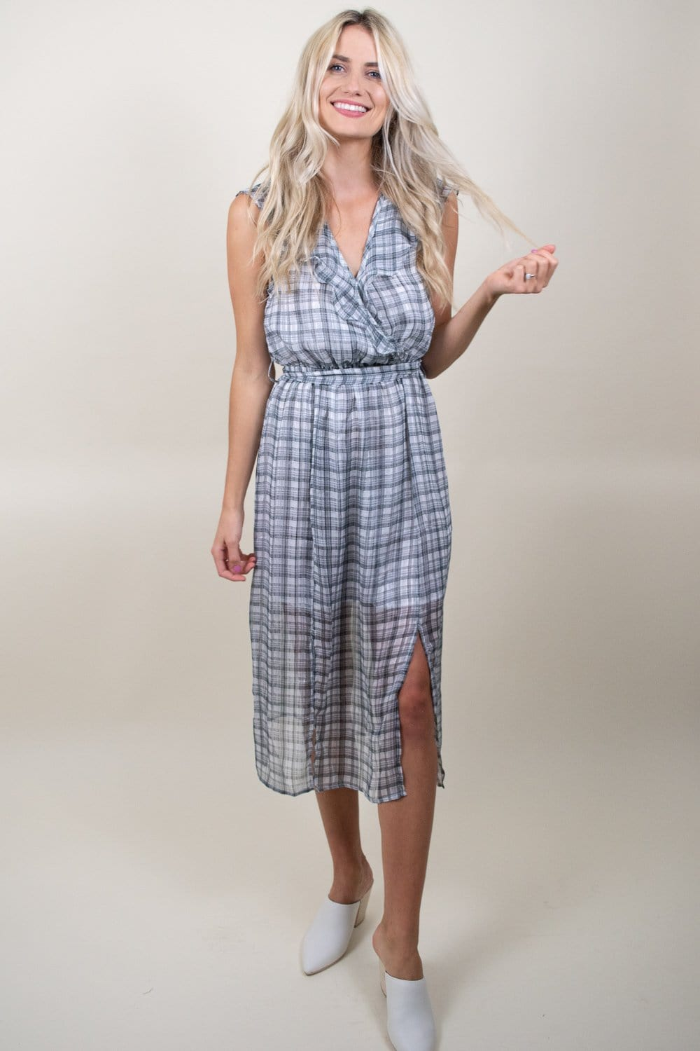 MINKPINK Chiffon Check Midi Dress