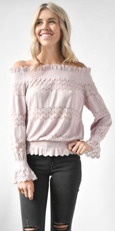 JOA Smocked Off The Shoulder Knit Lace Top in Pale Lavender