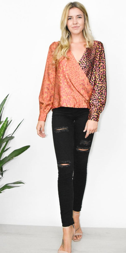 Honey Punch Mix Print Surplice Top in Gold and Black Print
