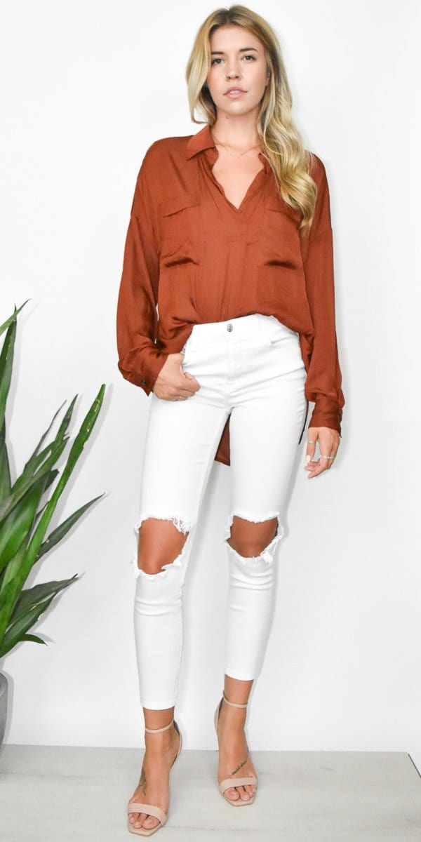 Free People Starry Dreams Pullover in Brown Rust