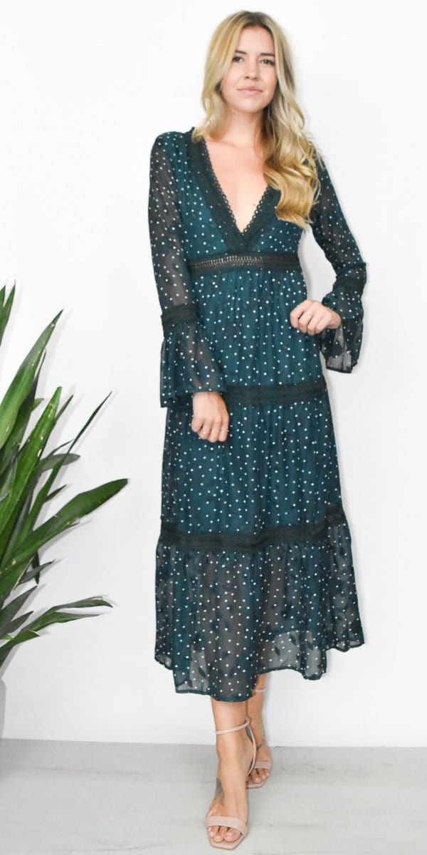 Moon River Empire Waist Maxi Dress