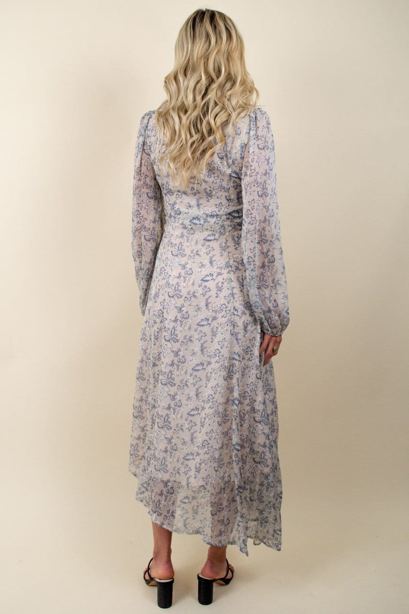 En Saison Vintage Floral Asymmetrical Maxi Dress Off White