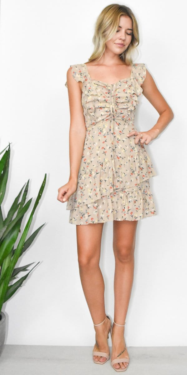 J.O.A. Ruched Ruffle Dress in Taupe Floral